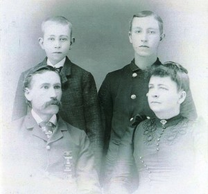 Picture of George Maberry, wife and two sons, 1884
