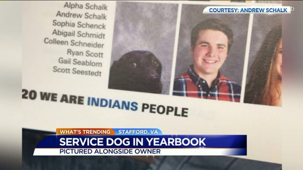 HS student and his service dog in the yearbook